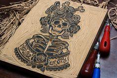 La Rosa Catrina - Block Print on Behance