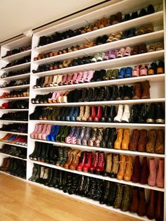 now that's a big shoe closet!  walk in closet.  home decor and interior decorating ideas.  closet organization.