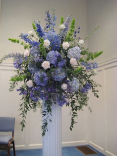 Hydrangea, Delphinium, Bells of Ireland, Agapanthus blue reception funeral flowers Blue Flower Arrangements, Funeral Arrangements, Wedding Arrangements, Floral Centerpieces, Centerpiece Wedding, Centerpiece Ideas, Altar Flowers, Church Flowers, Funeral Flowers