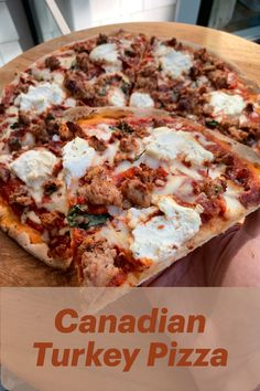 Topped with turkey sausage and turkey bacon, this pizza is packed with protein in every bite. Leansquad has created this healthy take on your favourite Canadian Pizza, so you can feel good about having an extra slice. Turkey Pizza, Meat Pizza, Meat Lovers Pizza, Turkey Sausage, Cooking Recipes, New Recipes, Yummy Recipes, Dessert Recipes, Desserts
