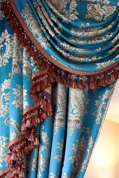 Blue Lantern Swag Valances Curtain Drapes  The dream combo of turquoise blue and gold makes Blue Lantern curtains a fantasy come true. The meticulous details of the pattern evoke the memory of the exotic land of far east. Luxurious and sophisticated, it is understated elegance at its finest.   curtain, curtains, drape, drapes,window treatment, valance, valances, swag valance, fringes, victorian style, red, blue, gold