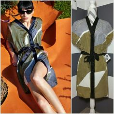 """🌟💋LAST 1💋9 to 5 Kimono dress NWT 💋Honored Host Pick💋  Beand new with tags Start your day off right with this 9 to 5 moder stripe kimono dress!! Pair with heels and a blazer!    Colors, black, dark navy blue, cream and mustard yellow. Designer Viva Vena by Vena Cava Length approx 34""""  Snap button front, ties at waist 100% polyester (Model in pic 3 is wear similar style dress) Print may vary   Coachella, party, picnic, cruise, vacation, getaway small. Viva Vena by Vena Cava Dresses"""