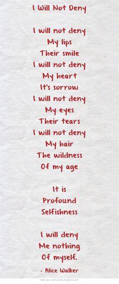 I Will Not Deny by Alice Walker