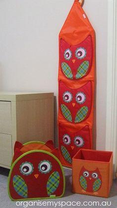Owl Storage Pack - Wall Organiser / Large Storage Bin / Small Storage Bin $23.99