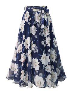 Chiffon Floral, Long Chiffon Skirt, Floral Lace, Pleated Skirt, Print Chiffon, Chiffon Fabric, Lace Up, Swing Rock, Europe Fashion
