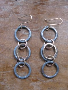 Black and Gold 3 Hoop Chain Earrings. LieslPawliw - Etsy