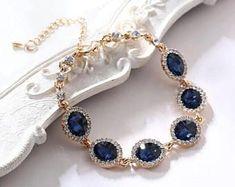 Sapphire Blue Vintage Tennis Bracelet Swarovski Crystal Rhinestone Bridal Bangle Bracelet, Valentine Gift, Wedding Bracelet, Bridal Bangle