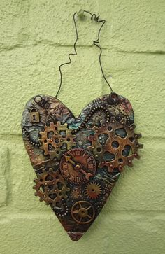 Steampunk heart shaped wall plaque by LindsayMasondesigns on Etsy