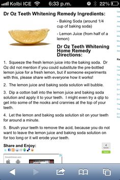 Baking soda and lemon juice for teeth whitening
