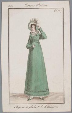 Green gown, 1817 Costume parisien