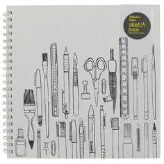 A greyboard sketchbook with art material design on the cover exclusive at Paperchase.