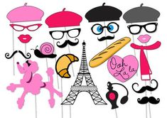 Paris Photo booth Party Props Set - 23 Piece PRINTABLE - French ...