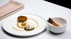 Pumpkin with Dutch Spices, Cream Cheese Mousse and Vanilla Bay Leaf Ice Cream - Network Ten Masterchef Recipes, White Chocolate Bark, Butterscotch Sauce, Vanilla Paste, Cake Board, Latest Recipe, Tray Bakes, Asian Recipes, Mousse
