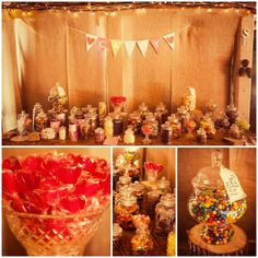 Our candy bar at our rustic barn wedding! Hire our candy bar via Lace & Twine... Gold Coast, Northern NSW, Brisbane. www.facebook.com/LaceTwine