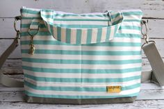 Diaper bags by Darby Mack our 'Lilou' bag in Stockholm Blue Stripe /  Washable and durable!  Made in the USA