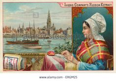 A woman in traditional  dress looking out over Antwerp, Belgium. Liebig card, 1895. Stock Photo