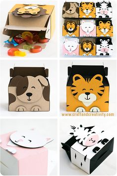 Kalasaskar med djurmotiv – Animal party boxes created with the Silhouette CAMEO… Creative Gift Wrapping, Creative Gifts, Party Animals, Animal Party, Diy And Crafts, Crafts For Kids, Paper Crafts, Box Patterns, Safari Party