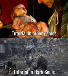 Tutorials in other games vs. Tutorials in Dark Souls