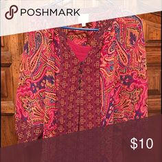 Super cute bohemian top. Super cute bohemian top. Sheer but comes with cami. Different shades of pink! Tops Blouses