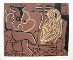 Pablo Picasso -  Femme dans un Fauteuil et Guitariste (B. 917; Ba. 1232), 1959 linocut in black, brown and beige on Arches paper 24 1/2 x 29 1/2 inches, signed in pencil