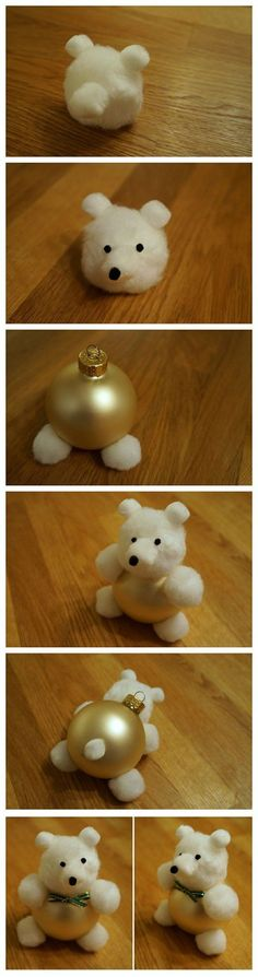 Cotton Ball Teddy Bear Ornament | 62 Impossibly Adorable Ways To Decorate This Christmas