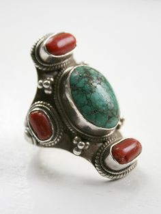 Indian Himalaya | Turquoise and Red Coral, silver Ring | Contemporary