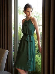 Chiffon Halter Bridesmaid Dress