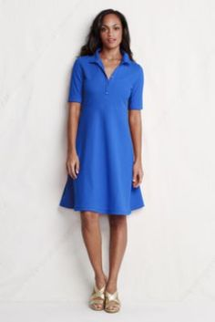 Women's Elbow Sleeve Fit Flare Polo Dress from Lands' End; kind of cute, but maybe too short
