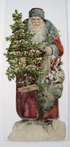 "Large ""VERY RARE"" Vintage Victorian Christmas Die Cut w/ Father Christmas *"