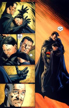 Batman being kind to Robin. A rare moment of empathy for his orphaned protégé.