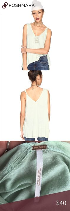 Free People New Vibes Tank NWT, never worn! Good vibes only. Perfect summer festival shirt! Size: M. Color: Mint Lightweight tank boasts a soft rayon-linen blend. V-neckline with crochet accent. Sleeveless design. Single twisted shoulder strap. High-low hemline. Free People Tops Tank Tops