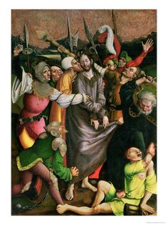 """Christ Arrested in the Garden of Gethsemane. BIBLE SCRIPTURE: Matthew 26:47, """"And while he yet spake, lo, Judas, one of the twelve, came, and with him a great multitude with swords and staves, from the chief priests and elders of the people."""" - Giclee Print - http://access-jesus.com/Matthew/Matthew_26.html"""