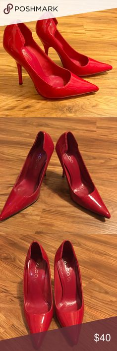 👠 Patent red pointy toe pumps 👠 Super sexy patent leather pointed toe heels. These are in excellent condition. Worn once for a wedding, they are a little big on me so never wore again. Very little wear on the soles, practically brand new Aldo Shoes Heels