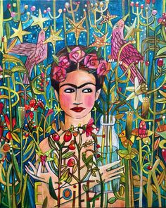 Frida Kahlo as muse. This image, inspired by tarot cards, symbolism and the enigmatic Frida is something different. Cool blues and greens with