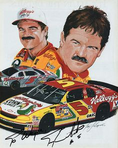 NASCAR racer Terry LaBonte Autograph Hand Signed Kellogg's Picture - Comes with certificate of authenticity. LaBonte is a two-time NASCAR Sprint Cup Series (then Winston Cup Series) champion and 1989 Dirt Track Racing, Sports Car Racing, Race Cars, Auto Racing, Monster Cup, Nascar Racers, Truck And Tractor Pull, Terry Labonte, Demolition Derby