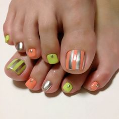 Pedicure Toe nail art: green, orange & silver stripes