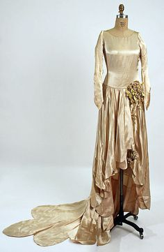 "Wedding Dress: 1928, American, silk.    Marking: [label] (inside skirt front) ""Rosenberg and Goodstein, New York"""