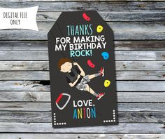 Rock Climbing Thank You Tags / Party Bag by DaisyBooDesignStudio
