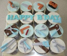 Tools cupcakes Handyman daddy and playfull son Fondant Cupcakes, Fondant Toppers, Cupcake Cookies, Cupcake Toppers, Cupcake Ideas, Beach Cupcakes, Cupcakes For Men, Themed Cupcakes, Yummy Cupcakes