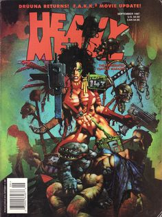 Simon Bisley, Heavy Metal Contains a gallery, a Julie Strain gallery, Druuna: Aphrdisia by Serpieri et al. Heavy Metal Comic, Heavy Metal Girl, Heavy Metal Rock, Metal Fan, Metal Magazine, Magazine Art, Magazine Covers, Power Metal, Black Metal