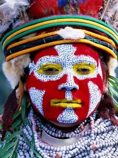 Photographic Print: Sing Sing Group Member with Face Paint, Mt. Hagen Cultural Show, Papua New Guinea by John Banagan : 24x18in