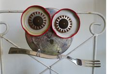 owls revamped from old kitchen utensils and found objects from Focus on Art