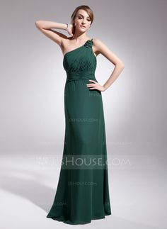 A-Line/Princess One-Shoulder Floor-Length Chiffon Evening Dress With Ruffle (017014567)