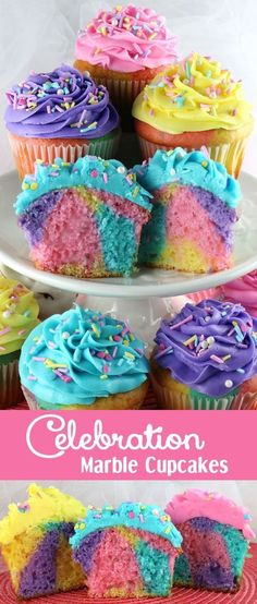Colorful, Rainbow Cupcakes. Love these for a birthday party celebration! Great for a Trolls-themed party.