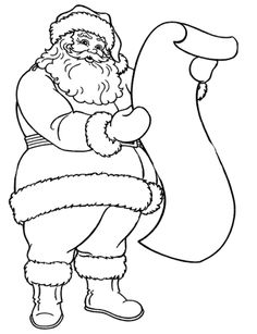 Santa Claus Reading The Long Letter Coloring Pages