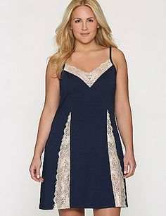 The luxury you love from our ultra-soft Tru to You collection gets a sexy makeover with sheer lace insets. As flattering as it is comfortable, this lovely nightie shows off your shape with a V-neck and princess seams, with adjustable lingerie straps. lanebryant.com