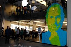 To honor the late legendary CEO of Apple, people in Munich, Germany, erected this paper tribute using more than 4,000 sticky notes. See more photos at Christian Mauerer.  - WomansDay.com