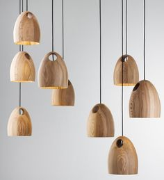 'Oak' timber pendant lamps by Melbourne designer Ross Gardam. Photos - Haydn Cattach.