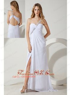 White Empire One Shoulder Beading Prom / Evening Dress Brush Train Chiffon- $137.09  http://www.fashionos.com  http://pinterest.com/Fashionosfuns/  You will fall in love with this dress when you look at it at the first time. This one shoulder floor length prom dress features a sweetheart neckline with a fitted bodice. The flattering ruches accentuate your curve. The exquisite beadwork hights this graceful dress!