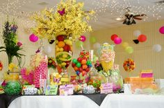 Candy buffet with fruit